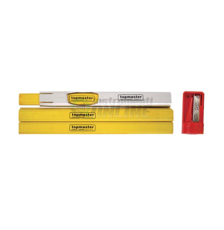 Комплект моливи, 7 броя, дърводелски моливи, острилка, Topmaster, Professional