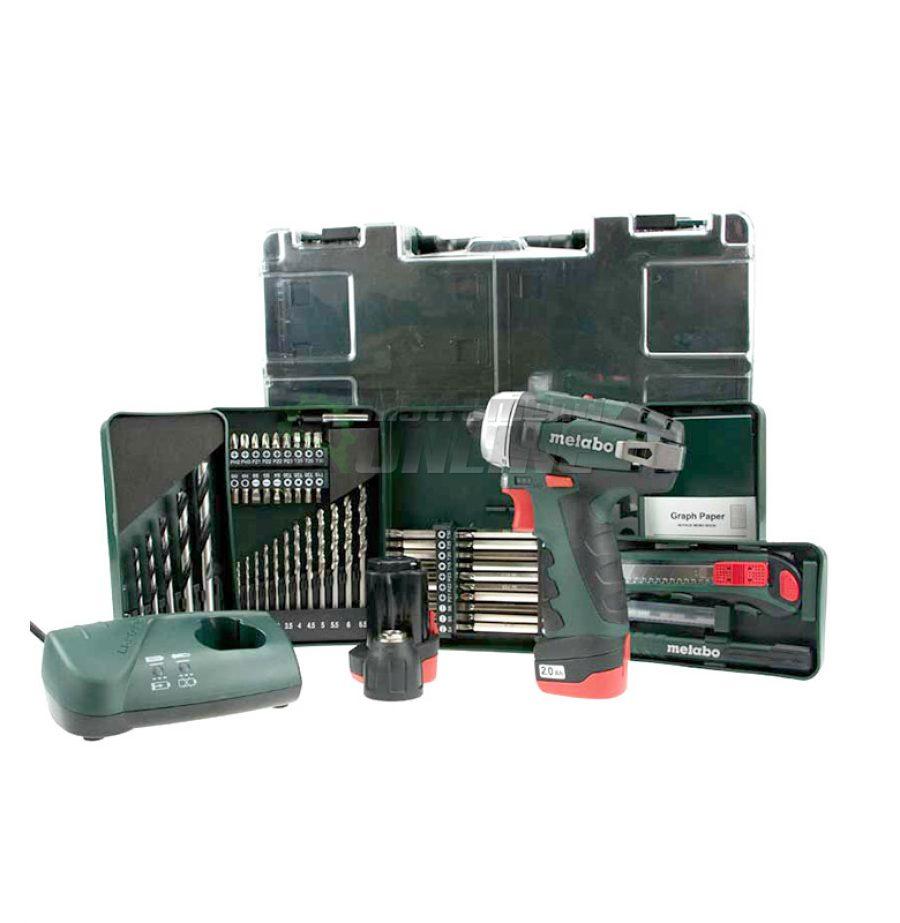 Акумулаторен винтоверт, Акумулаторен, винтоверт, 10.8 V, 34 Nm, METABO, PowerMaxx, BS BASIC SET, 2 Ah