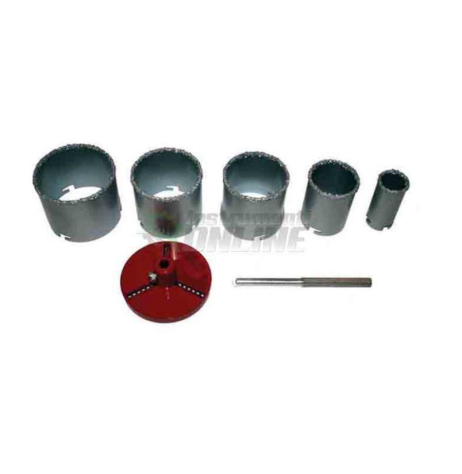 Комплект борокорони, 7 части, боркорони за керамични, боркорони за плочки, боркорони , диаметър 33 - 83 мм, борокорона Raider