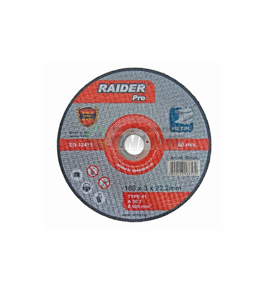 Диск за метал, диск за ъглошлайф, диск raider, 180 х 3.0 х 22.2 мм, Raider, rdp