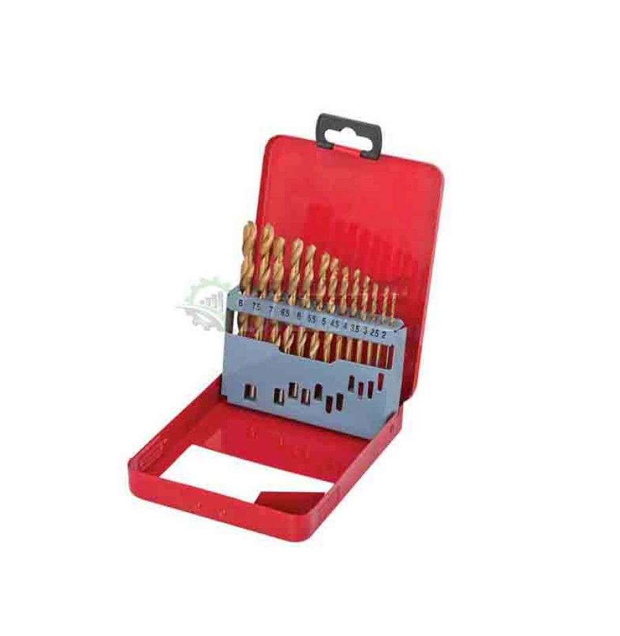 Комплект, 13 броя, свредла, свредла за метал, метална кутия, 2.0 - 8.0 мм, HSS, TIN, Raider