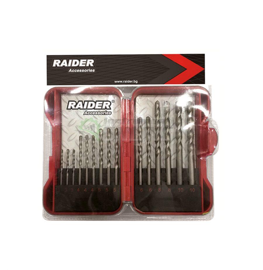 Комплект свредла, 15 броя, свредла за бетон, свредла, свредло, свредла raider, 3 - 10 мм, Raider
