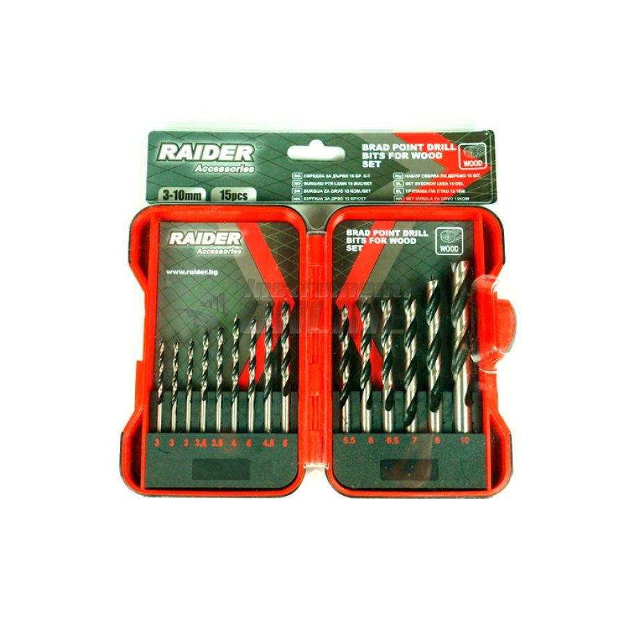 Комплект свредла, 15 броя, свредла за дърво, свредла, свредло, свредла raider, 3 - 10 мм, Raider