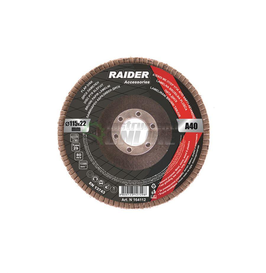 Ламелен диск, шлифовъчен диск, диск raider, диск 115 мм, А-40, Raider