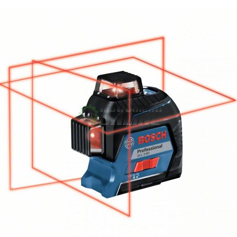 Линеен, лазер, GLL 3-80, ± 0,2 мм / метра, 30 метра, Bosch