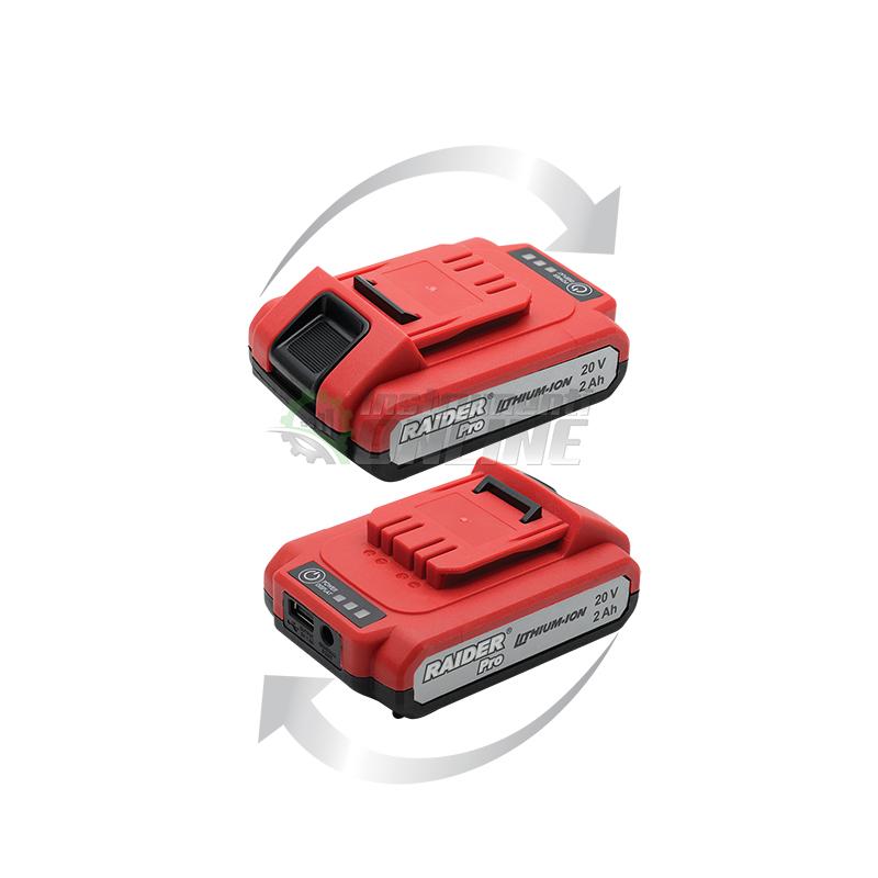 акумулаторна батерия, Батерия, акумулаторна бормашина, Li-ion, 20 V, 2Ah, rdp-cdl02l6, Raider