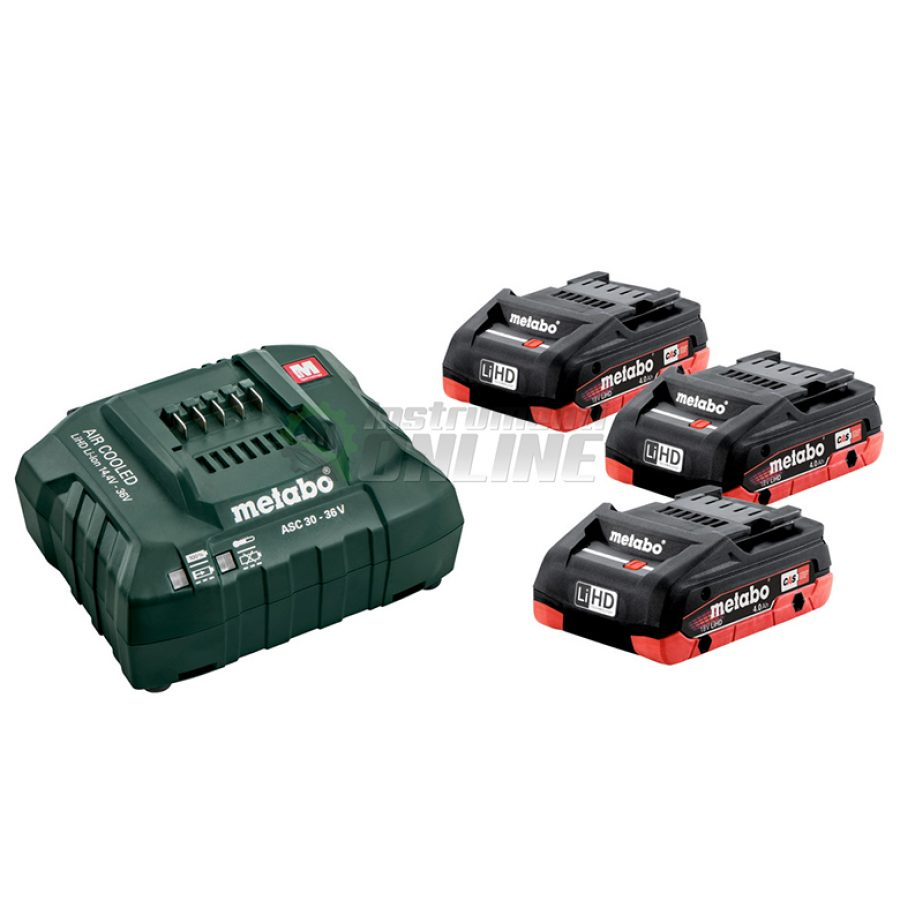 Базов комплект, Акумулаторна батерия, 3 x 4.0 Ah, LiHD, зарядно устройство, 18V, ASC, 30 - 36, Metabo