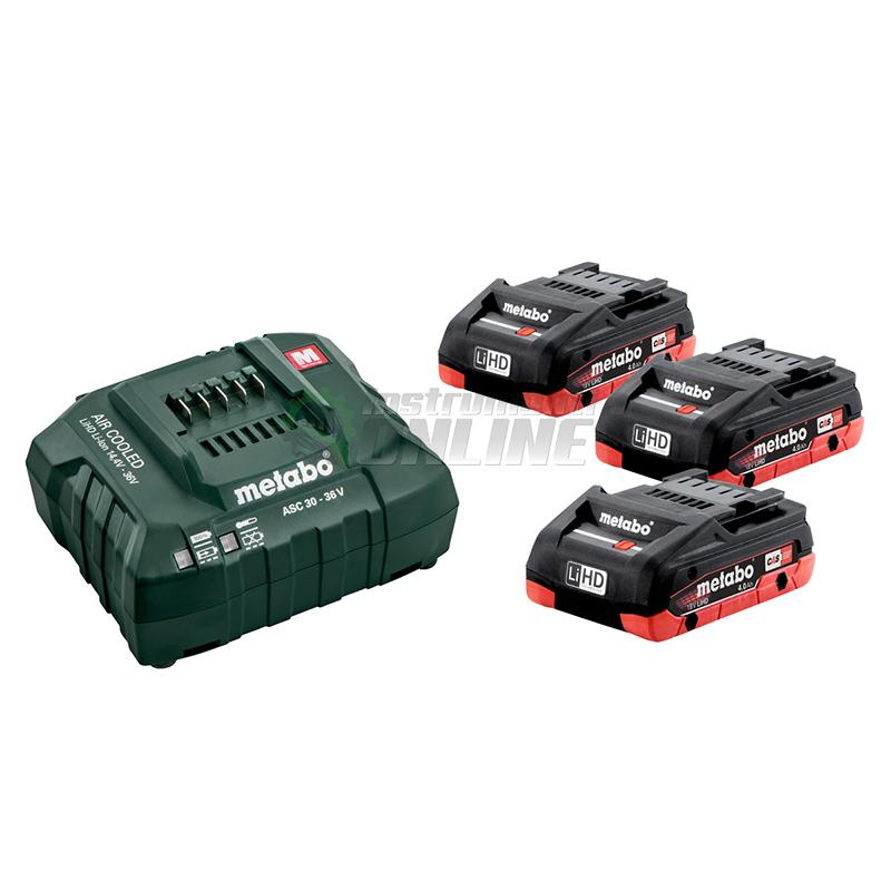 Базов комплект – Акумулаторна батерия 3 x 4.0 Ah LiHD и зарядно устройство 18V ASC 30 – 36 Metabo