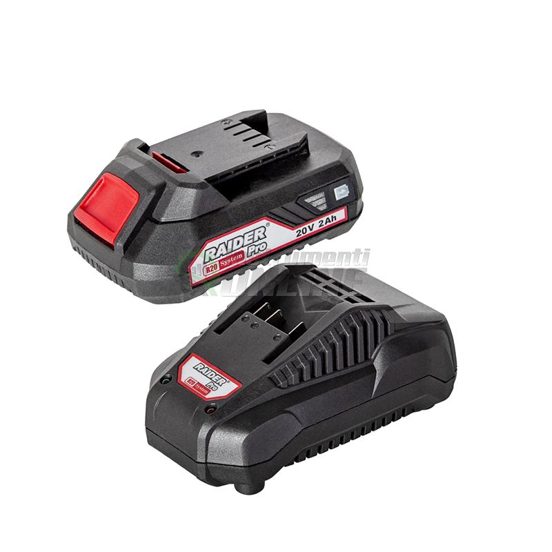 Комплект, акумулаторна батерия, зарядно устройство, серията RDP-R20, 20 V, Li-ion, 2 Ah, 1h, R20, System, Raider