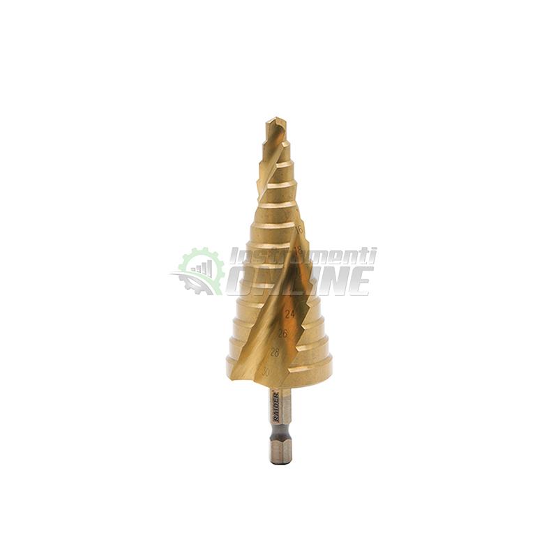 """Стъпаловидно свредло, свредло, свредло за ламарина, HEX 1/4"""", фи 6-30 мм, HSS+TIN, spiral flute, Raider"""