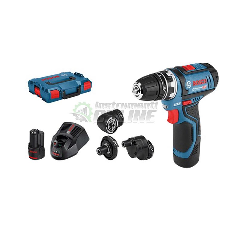 Акумулаторен винтоверт, 12 V, 7 мм, 0.6 кг + 2 x 2 Ah, GSR 12V-15 FC, Bosch Professional, винтоверт Bosch, винтоверт