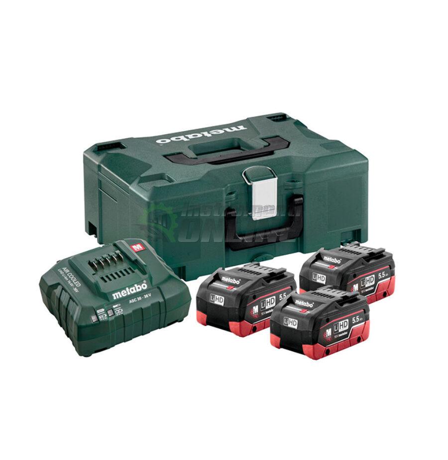 Базов комплект, акумулатори, akumulatorna bateriq, 18V, ASC 30-36, 3 x LiHD, 5.5Ah, Metaloc II, Metabo
