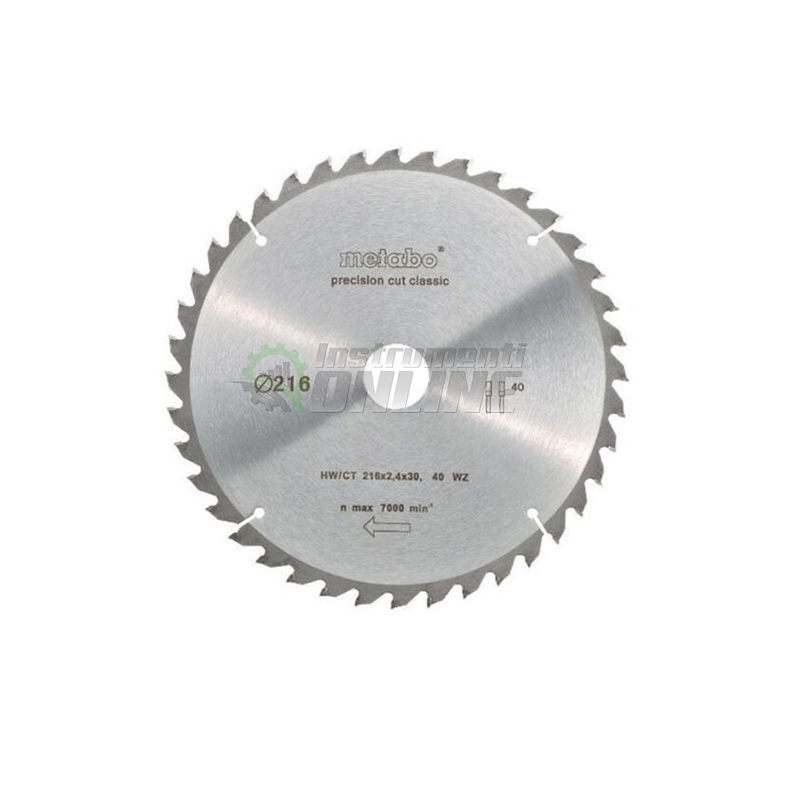 Диск за циркуляр, диск, диск за дърво, 216 х 2.4 х 30 мм, 48, WZ, 5°, neg, Metabo