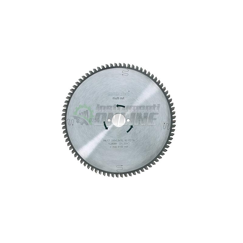 диск, диск за дърво, Диск за циркуляр, 250 х 2.8 х 30 мм, 80, FZ, 5°, Metabo