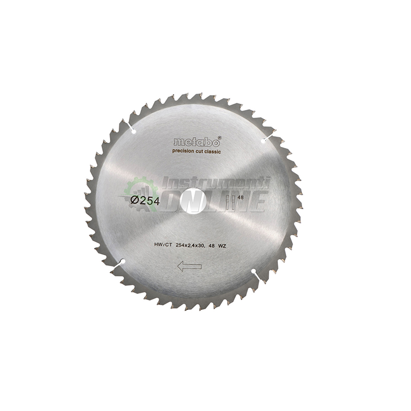 диск за дърво, диск, Диск за циркуляр, 254 х 2.4 х 30 мм, 48, WZ, 5°, Metabo