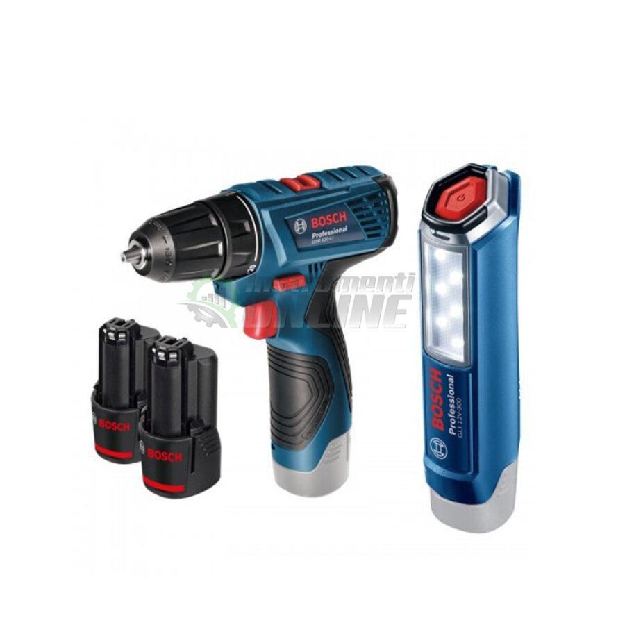 К-кт, акумулаторен винтоверт, 12 V, 2 x 1.5 Ah, GSR 120-Li, Bosch, акумулаторна лампа, GLI 12V-300, Bosch, акумулаторен винтоверт Bosch, винтоверт Bosch, акумулаторна лампа Bosch, лампа Bosch