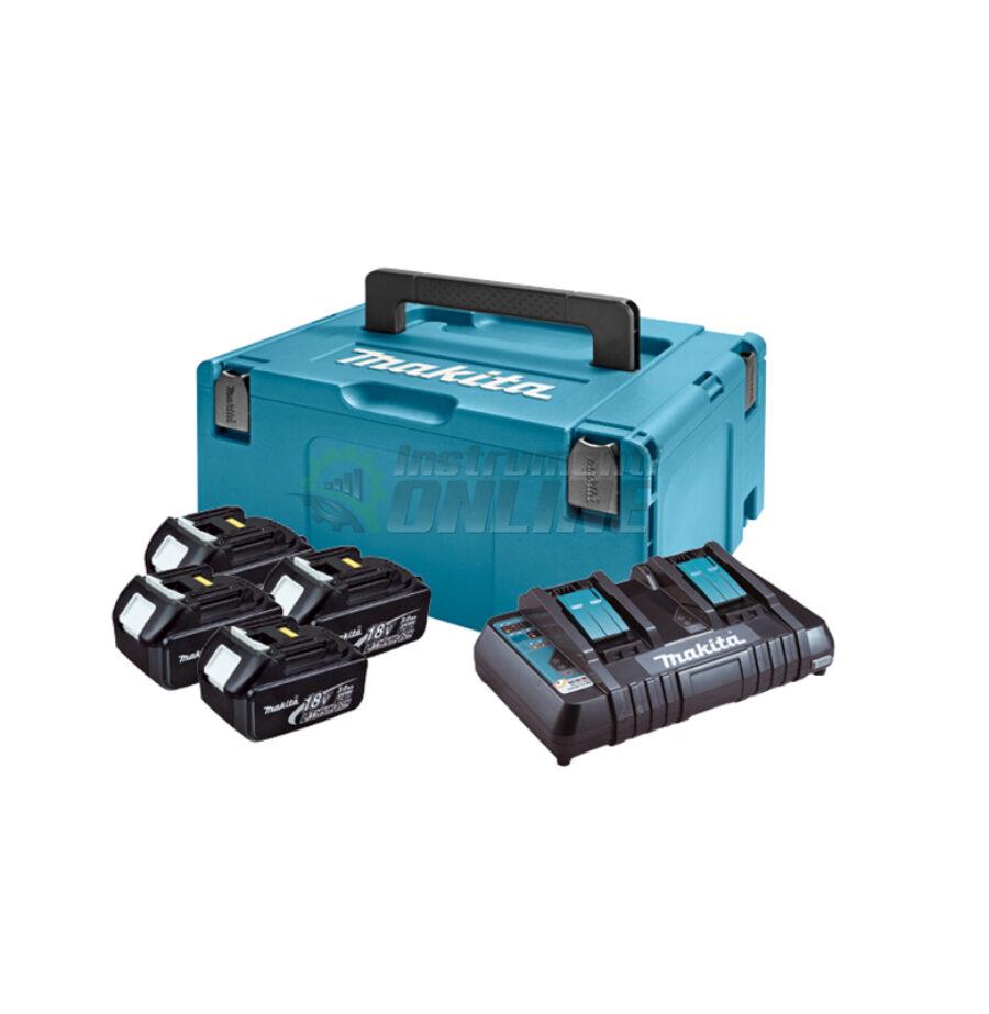 Комплект, MAKPAC 2, зарядно устройство, батерии, BL1830x4, DC18RD, Makita