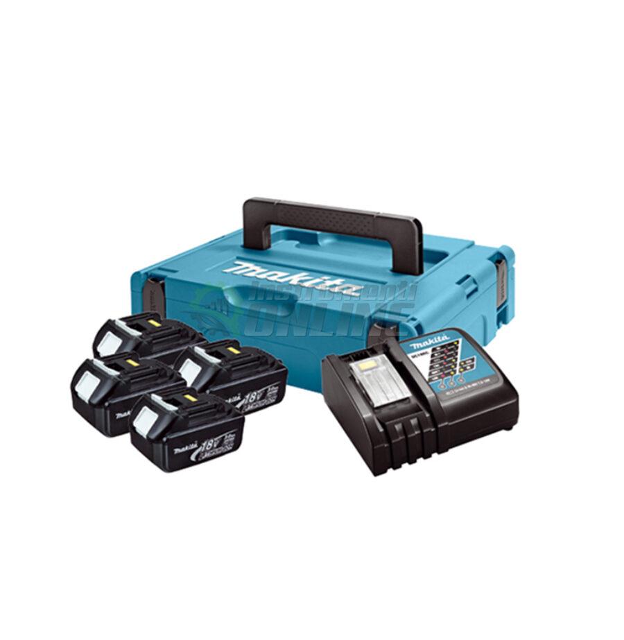 Комплект, MAKPAC, зарядно устройство, батерии, BL1830x4, DC18RC, Makita