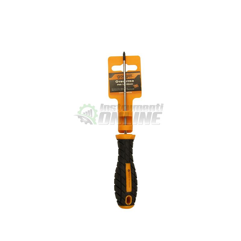 Кръстата отвертка, двукомпонентна дръжка, PH0, 3 x 100 мм, Gadget, отвертка,