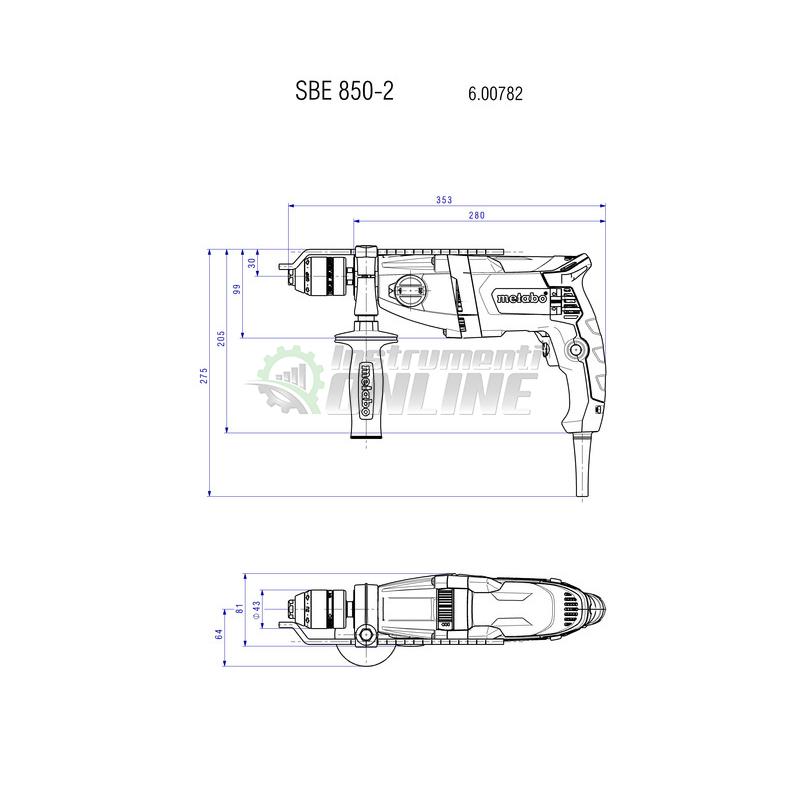 Ударна, бормашина, 850 W, SBE, 850-2, ssbf, Metabo