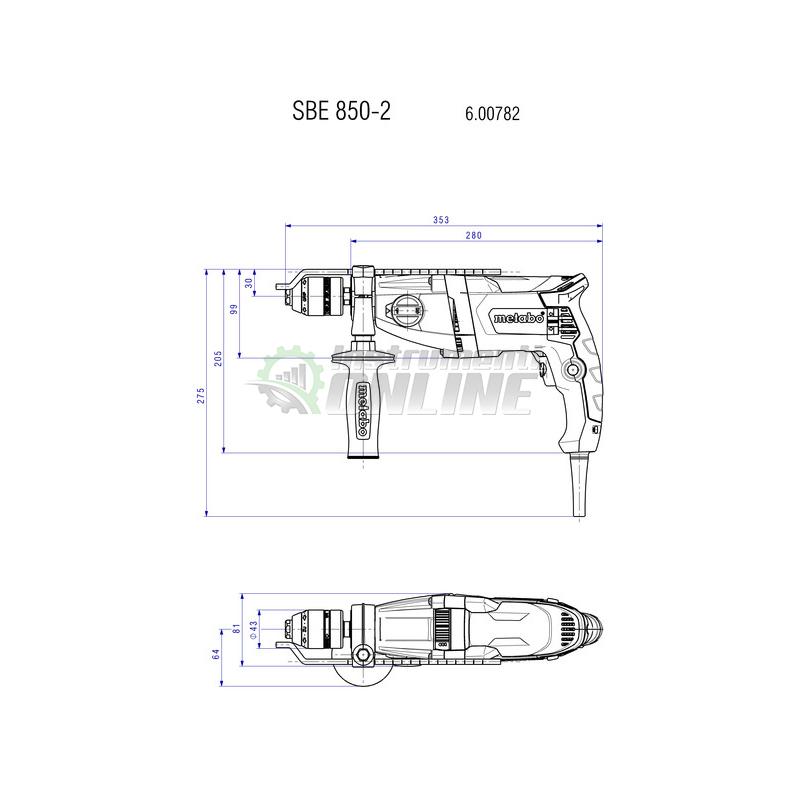 Ударна, бормашина, 850 W, SBE, 850-2, ZKBF, Metabo