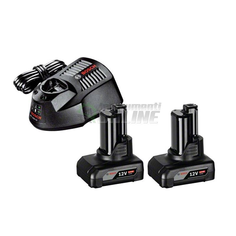 К-кт акумулаторна батерия, Bosch, 12 V, 2 x 6.0 Ah, GBA, зарядно GAL 1230 CV, акумулаторна батерия и зарядно Bosch, батерия Bosch, зарядно Bosch