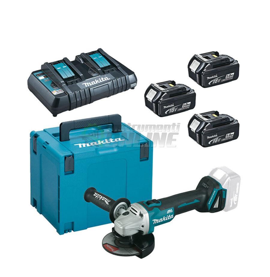 Комплект, MAKPAC, акумулаторен, ъглошлайф, с батерии, зарядно, куфар, Makita