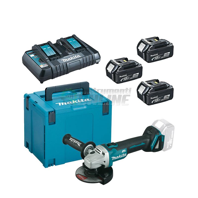 Комплект MAKPAC акумулаторен ъглошлайф с 3 батерии, зарядно и куфар Makita