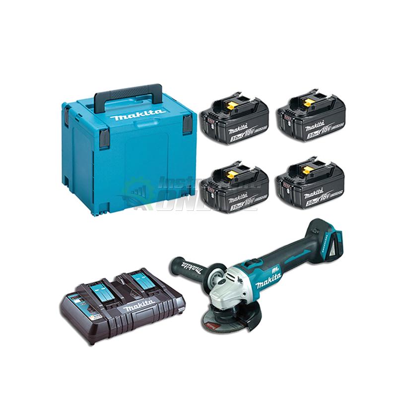 Комплект MAKPAC акумулаторен ъглошлайф с батерии, зарядно и куфар Makita