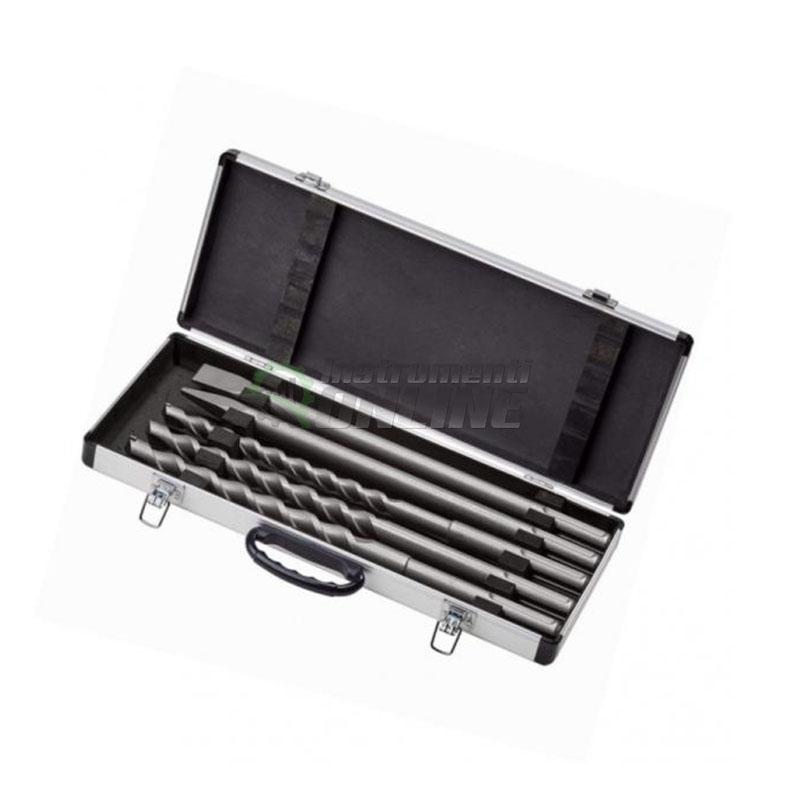 свредло, Комплект, 5 броя, свредла, шила, перфоратор, алуминиев куфар, SDS-Max, Einhell
