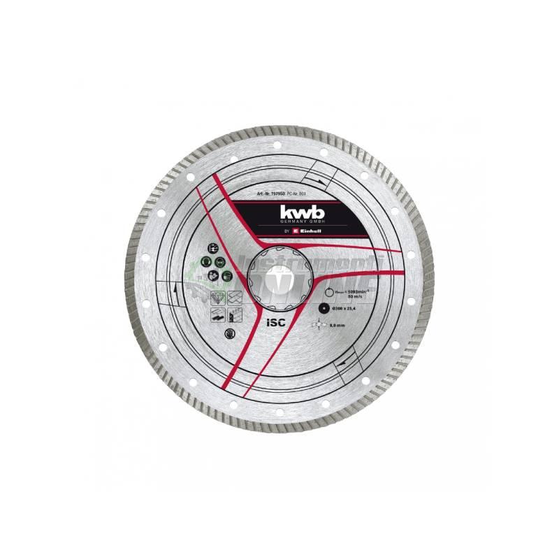 Диамантен диск, TE-SC 920 L, рязане на камък, Ф 300 х 25,4 мм, турбо, Einhell, KWB